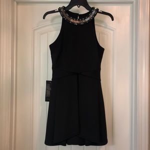 NWT Bebe Beaded Neck Black Double Layer Dress